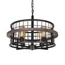 Wire Frame Hanging Light 4 Light Farmhouse Rustic Metal Pendant Lighting with Adjustable Chain in Black