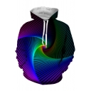 Cool Ombre Whirlpool 3D Pattern Long Sleeve Pullover Sport Loose Hoodie