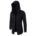Mens Hip Hop Style Simple Plain Black Hooded Cape Coat