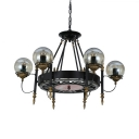 Classic Round Hanging Light Metal Height Adjustable 6/8 Lights Black Chandelier for Living Room Dining Room