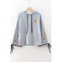 Simple Leaf Embroidery Tied Cuff Long Sleeve Cotton Loose Hoodie
