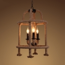 Rustic Style Candle Shape Suspension Light Metal and Rope 3 Lights Beige Chandelier for Dining Room