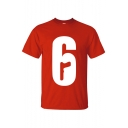 Basic Simple Number Six 6 Print Short Sleeve Casual Loose T-Shirt
