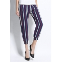 Fashion Vertical Stripe Printed Womens Casual Cropped Pants