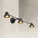 Metal Bowl Shape Wall Light Living Room Bedroom 3 Lights Industrial Wall Sconce in Black