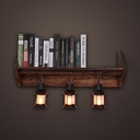 Vintage Style Cylinder Wall Sconce Wood and Metal 3 Lights Hanging Wall Light for Dining Room Study