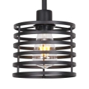 Vintage Style Drum Pendant Light Metal Single Light Black Hanging Light for Restaurant Kitchen