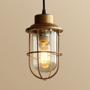 Balcony Living Room Caged Ceiling Light Metal and Glass Single Light Industrial Gold Pendant Light
