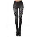 Halloween Horror Pumpkin Printed Womens Grey Slim Fit Leggings