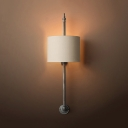 1 Light Drum Shape Wall Light Traditional Style Fabric and Metal Sconce Light in Black/Rust for Bedroom
