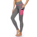 Women's New Trendy Contrast Pocket Fitness Running Yoga Leggings