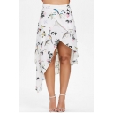 Vintage Holiday Floral Bird Pattern Open Front White Asymmetrical Skirt