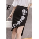 Chic Beading Floral Embroidery Split Front High Rise Midi Asymmetrical Pencil Skirt