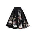 Womens Vintage Floral Pattern Crinkled Midi A-Line Pleated Swing Skirt