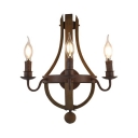 Rust Candle Wall Lights 3 Lights Antique Style Metal and Wood Wall Sconce for Restaurant Dining Room
