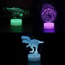 7 Color Changing LED Night Light Touch Sensor Dinosaur Pattern 3D Illusion Light for Birthday Gift Decor