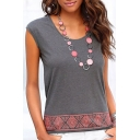 Womens Summer Basic Round Neck Sleeveless Casual Loose Grey Tank Top