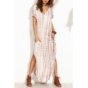 New Trendy Tie Dye Printed Short Sleeve V-Neck Sexy Split Side Maxi Kaftan Holiday Beach Dress
