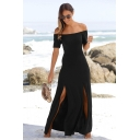 Summer Solid Color Off the Shoulder Short Sleeve Split Side Black Maxi Dress
