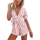 Trendy Stripe Printed Sexy Plunged V-Neck Bow Tied Waist Short Sleeve Playsuit Rompers