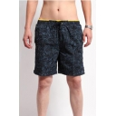 Mens Summer Fashion Pattern Drawstring Waist Fast Drying Beach Swim Trunks with Liner