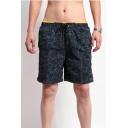 Mens Summer Fashion Pattern Drawstring Waist Fast Drying Beach Swim Trunks with Liner