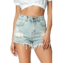 Womens Summer Light Blue Destroyed Raw Hem Ripped Denim Shorts