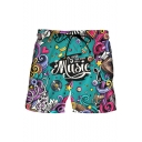 Cool Letter MUSIC Cartoon Pattern Drawstring Waist Casual Blue Dry-Fit Shorts