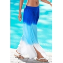 Summer Holiday Beach Fashion Ombre Color Split Side Wide-Leg Culotte Pants Palazzo Pants