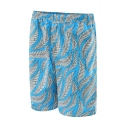 Fancy Men's Blue Tropical Leaf Print Swim Trunks with Mesh Liner and Pockets