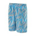 Fancy Men's Blue Tropical Leaf Print Swim Trunks with Mesh Liner and Pockets
