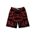 Men's Cool Red Letter Swim Trunks With Drawcord