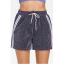 Unique Glitter Light Blue Fashion Stripe Side Drawstring Waist Sport Loose Shorts for Women