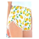Summer Cute Allover Yellow Pineapple Printed Pompom Hem Dolphin Shorts