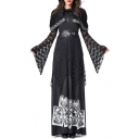 Halloween Cool Witch Cosplay Costume Black Maxi Long Dress