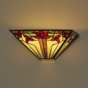 Battery Powered Flower Sconce Light Tiffany Style Glass Wall Light with Multi Color for Foyer Stair