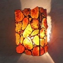 Colorful Rectangle Shade Wall Light 2 Lights Tiffany Style Antique Stone and Metal Sconce Lamp for Kitchen
