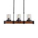 American Rustic Cylinder Shade Island Light 3/6 Lights Metal Clear Glass Pendant Light for Kitchen