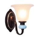 Classic Bell Shade Wall Lighting Glass Metal Single Light Wall Sconce for Bedroom Hotel Restaurant