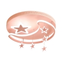 Moon Star Pattern Ceiling Mount Light Lovely Acrylic Metal Pink Overhead Light with White Lighting for Boy Girl Room