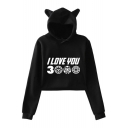 Unique Funny Letter I Love You 3000 Long Sleeve Cute Cat Ear Cropped Hoodie