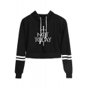 Cool Sword Letter NOT TODAY Striped Long Sleeve Cropped Drawstring Hoodie