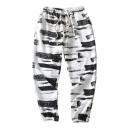 New Trend Hip Hop Stripe Colorblock Drawstring Waist Loose Sport Track Pants
