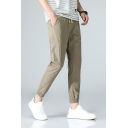 New Trend Letter Embroidery Drawstring Waist Slim Tapered Trousers for Men