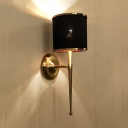 Black/White Drum Shade Wall Sconce 1 Light Classic Metal Fabric Wall Light in Brass for Bedroom