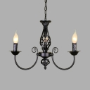 Traditional Candle Shade Chandelier 3/4/5 Lights Metal Pendant Light in Black/White for Dining Room