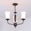 Curved Shade Dining Room Chandelier Metal Glass 3/6/8 Lights Traditional Hanging Light in Matte Black