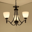 Restaurant Foyer Cone Shade Chandelier Metal Frosted Glass 3/6/8 Lights Traditional Black Pendant Light