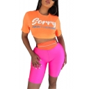Summer Women's Orange Letter SORRY Short Sleeve Cropped T-Shirt