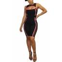 Womens Contrast Piping Round Neck Sleeveless Cutout Front Sexy Mesh Club Skinny Fit Romper Jumpsuit